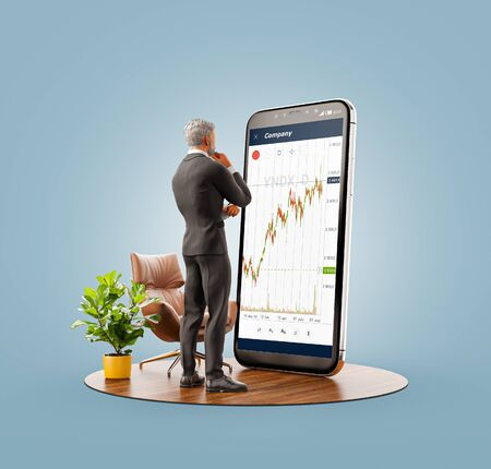 Photo pour Unusual 3d illustration of a businessman standing in front of smartphone with Stock market graph. Finance and investment Smartphone apps concept. - image libre de droit