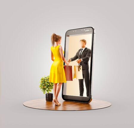 Photo pour Unusual 3d illustration of a young man standing at big smartphone and using smart phone application. Smartphone apps concept. - image libre de droit