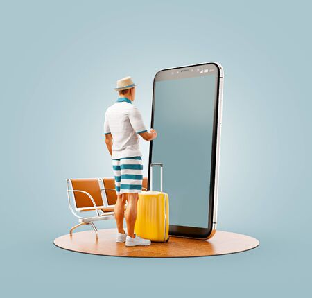 Photo pour Unusual 3d illustration of a tourist with in straw hat with his luggage standing in front of smartphone and using smart phone application. Travel smartphone apps concept. - image libre de droit