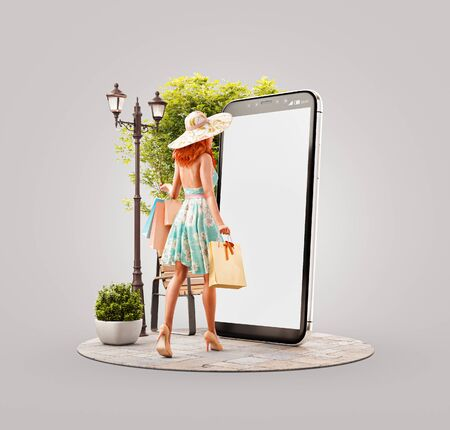 Photo pour Unusual 3d illustration of a Happy woman with shopping bags going to big smartphone and using smart phone application. Smartphone apps concept. Consumerism and shopping. - image libre de droit