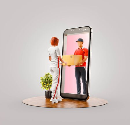 Photo pour Unusual 3d illustration of a young woman receiving parcel from delivery service courier through smart phone screen. Delivery and post apps concept. - image libre de droit