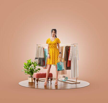 Photo pour Unusual 3d illustration of a beauty woman in casual clothes standing in boutique. Cloth market. Online shopping concept. - image libre de droit