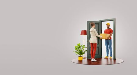 Photo pour Unusual 3d illustration of a young woman receiving parcel from delivery service courier at the door. Delivery and post concept. - image libre de droit