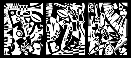 Illustration pour Design banner jazz music in retro geometric abstraction style. Triptych painting. Vector illustration - image libre de droit