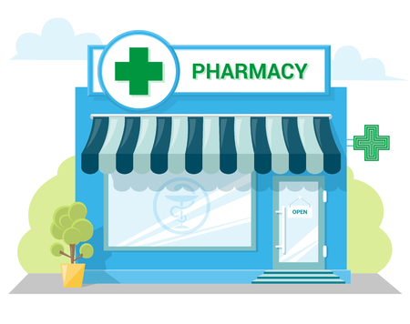 Illustration for Facade pharmacy store with a signboard, awning and symbol in shopwindow. Abstract image in a flat design. Front shop for Concept brochure or banner. Vector illustration isolated on white background - Royalty Free Image