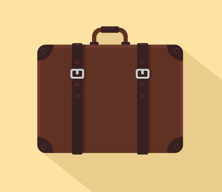 Ilustración de Brown vintage suitcase with leather belts. Vector illustration - Imagen libre de derechos
