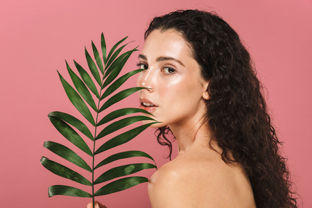 Photo for Beauty photo of caucasian young woman with long hair holding green leaf isolated over pink background - Royalty Free Image