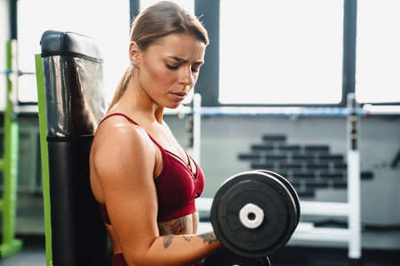 Photo pour Image of concentrated serious young woman fitness coach making sport exercise for arms with dumbbells in gym - image libre de droit