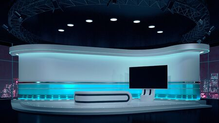 Foto de TV Virtual Studio background 3d illustration - Imagen libre de derechos