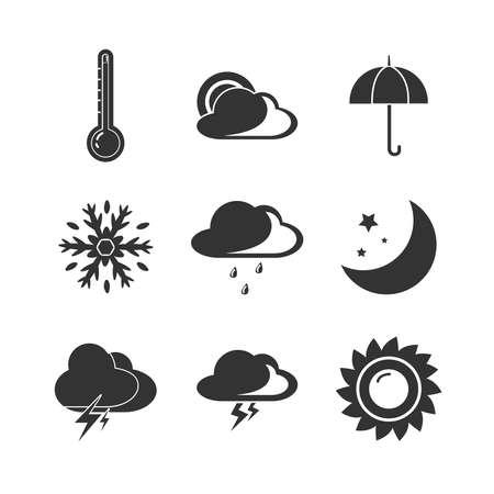 Illustration pour Weather forecast icon set with sun, rain, clouds, sun, snow - image libre de droit