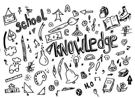 Illustration pour Sketchy vector School doodle hand drawn element with lettering school and knowledge light bulb, geometry triangle doodle cartoon - image libre de droit