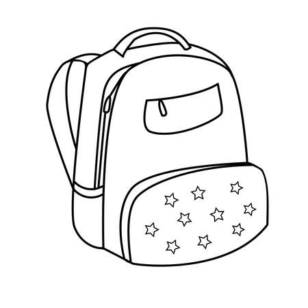 Illustration pour Vector hand drawn sketch doodle backpack with the stars. Vector illustration. Back to school. Outline - image libre de droit