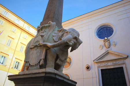 ROME, ITALY - December 28, 2018: The 'Elephant with Obelisk' statue is seen at Piazza della Minerva square on October 31, 2017 in Rome, Italy. Rome Rome is one of the most popular tourist destinations..