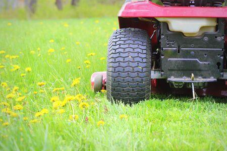 Foto de Gardening concept background. Gardener cutting the long grass on a tractor lawn mower - Imagen libre de derechos