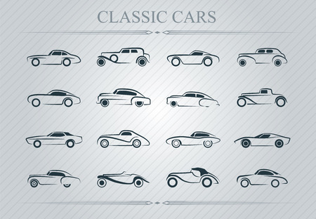 Illustration of classic cars logo on light background