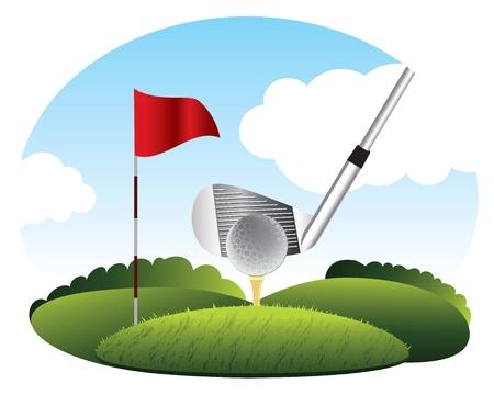 Illustration pour Kick the golf ball on grass - image libre de droit