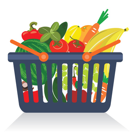 Fruits and vegetables in a basket isolated vectorのイラスト素材