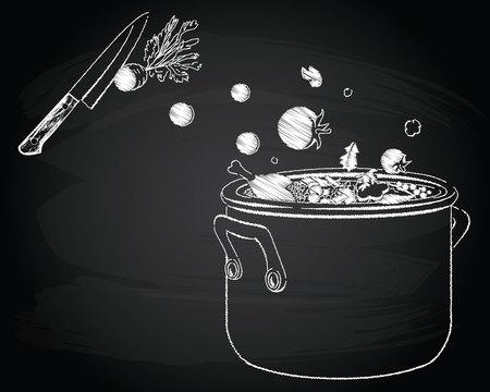 Illustration pour Cooking soup with vegetables on the chalkboard background - image libre de droit