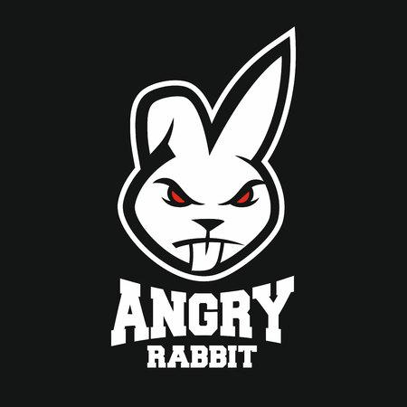 Illustration pour Mascot angry rabbit logo - image libre de droit