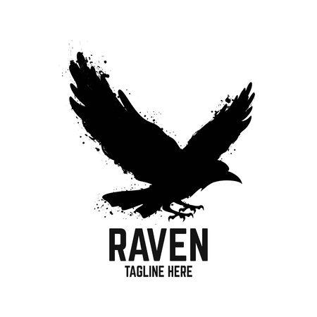 Illustration pour Modern black raven logo. Vector illustration. - image libre de droit