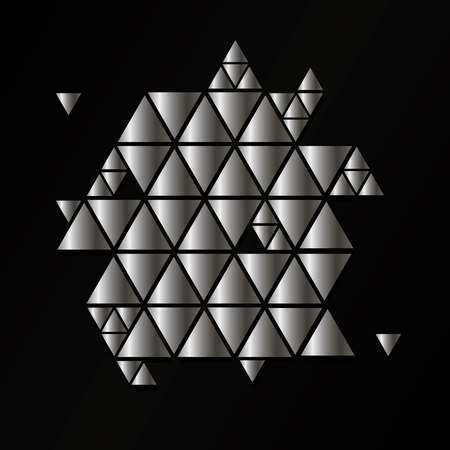 Abstract silver geometric vector background with triangles.