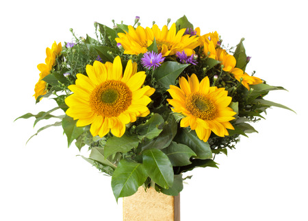 Bouquet with sunflowers isolated on white background