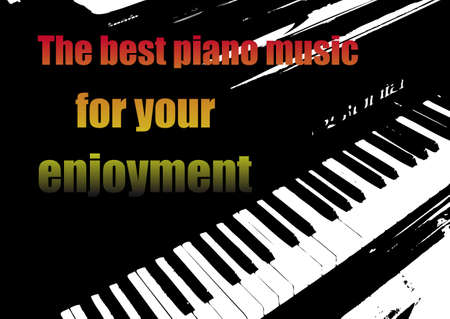 Illustration pour Music banner with piano keyboard and text. - image libre de droit