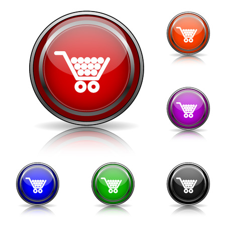 Shiny glossy colored icons - six colors vector set - eps10