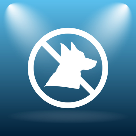 Forbidden dogs icon. Internet button on blue background.