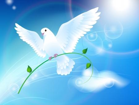 Photo pour Dove of Peace in the sky - image libre de droit