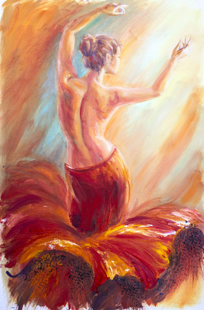 Photo for Beautiful dancing woman in red. Oil painting. - Royalty Free Image