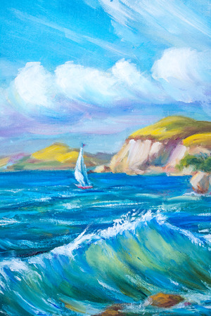 Sailing boat in the sea. Oil painting.