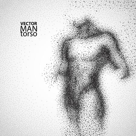 Vektor für Man torso. Graphic drawing with black particles. Vector illustration. - Lizenzfreies Bild