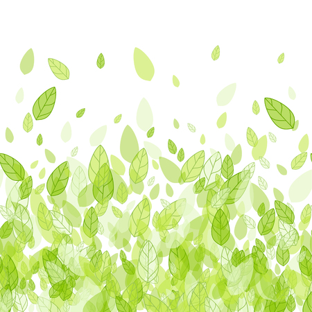 Illustration for Seamless green strip background with leaves - Royalty Free Image