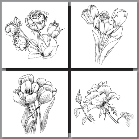 Ilustración de Set of Romantic vector background with hand drawn flowers isolated on white.  Ink drawing illustration. Line art sketching. Floral design for wedding invitations, cards, congratulations, branding. - Imagen libre de derechos