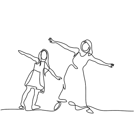 Illustration for Continuous line drawing. Family with mother and girl in fly. Vector illustration. - Royalty Free Image