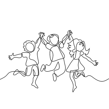 Ilustración de Happy jumping children holding hands. Continuous line drawing. Vector illustration on white background - Imagen libre de derechos