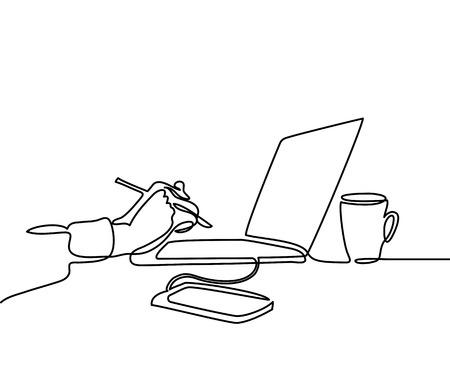 Ilustración de Continuous line drawing. Laptop computer with cup of coffee and hand with pen, phone. Vector illustration - Imagen libre de derechos