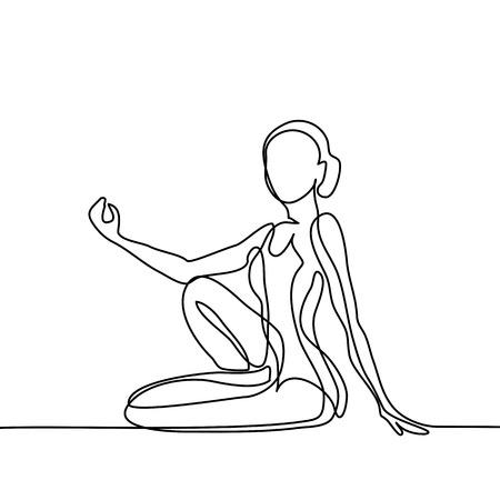 Illustration pour Continuous line drawing. Woman doing exercise in yoga pose. Vector Illustration - image libre de droit