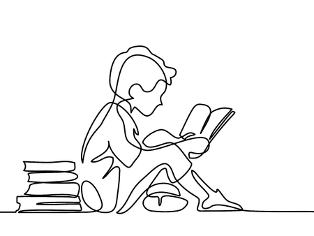Illustrazione per Boy studing with reading book. Back to school concept. Continuous line drawing. Vector illustration on white background - Immagini Royalty Free