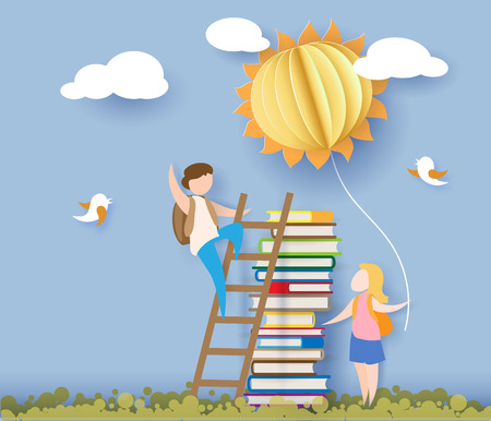 Ilustración de Back to school 1 september card with kids, books and sun on blue sky background. Vector illustration. Paper cut and craft style. - Imagen libre de derechos
