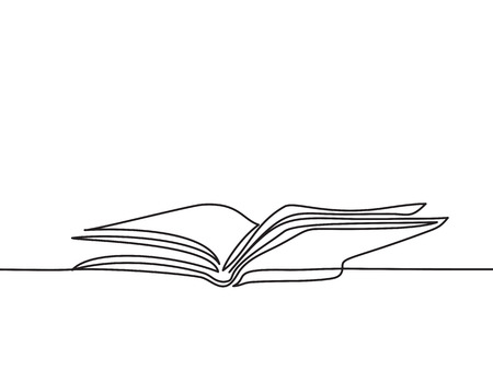 Ilustración de Opened book with pages isolated on white. Continuous line drawing. Vector illustration - Imagen libre de derechos