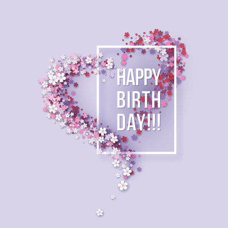 Ilustración de Colorful Paper cut Floral Greeting card. Happy birthday title texts poster design. Frame flowers heart shaped. Trendy Design Template. Vector illustration - Imagen libre de derechos