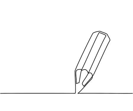 Illustration pour Pencil business icon. Continuous thin line drawing illustration - image libre de droit