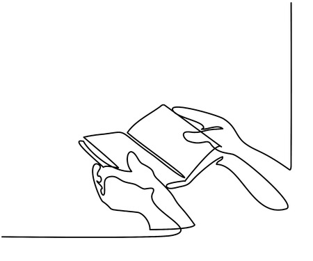 Ilustración de Continuous line drawing. Hands holding the bible book. Vector illustration - Imagen libre de derechos
