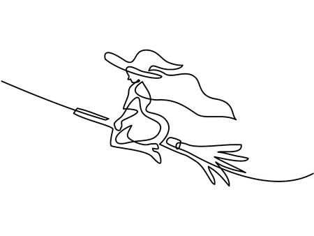Ilustración de Continuous line drawing of black halloween witch on broom. Vector illustration - Imagen libre de derechos