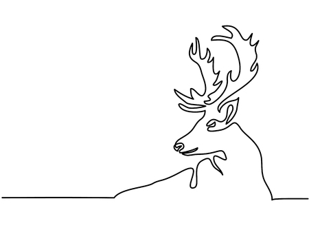 Illustration pour Continuous line drawing. Christmas reindeer. Total editable, choose thickness and place of line - image libre de droit