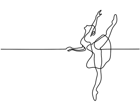 Illustration for Continuous Line Art Drawing. Ballet Dancer ballerina. Vector Illustration - Royalty Free Image