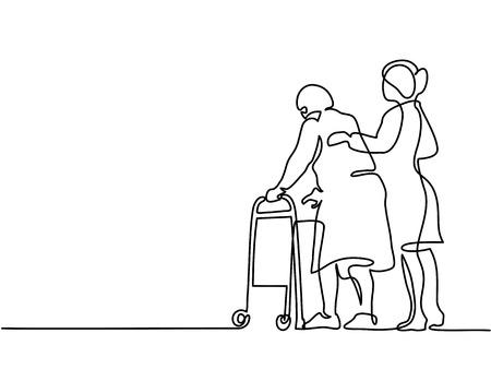 Illustration pour Continuous line drawing. Young woman help old woman using a walking frame. Vector illustration - image libre de droit