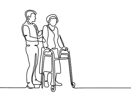 Illustration for Continuous line drawing. Young man help old woman using a walking frame. Vector illustration - Royalty Free Image